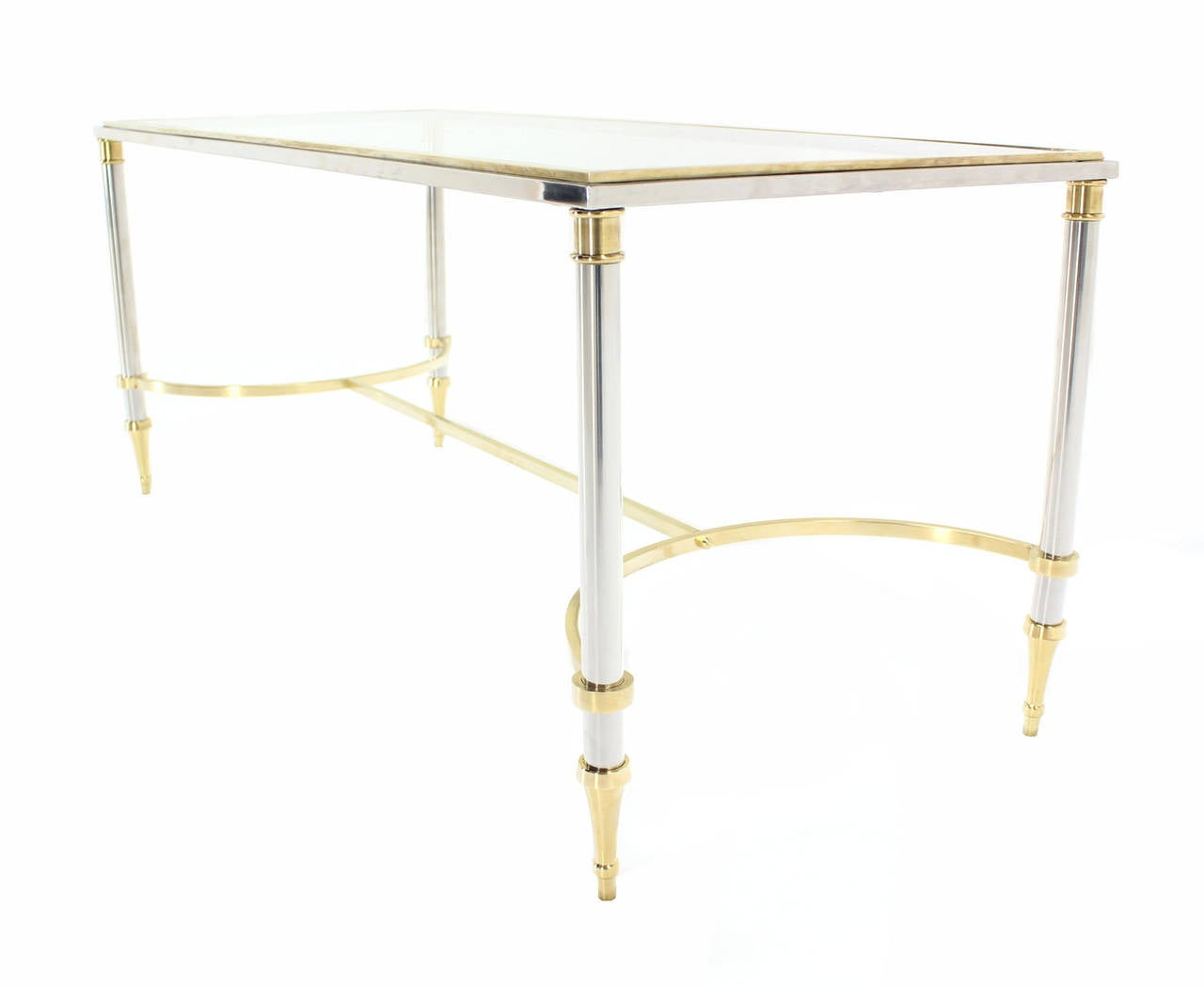 Chrome, Brass, and Glass-Top U-Shape Stretcher Coffee Table in Jansen Style In Excellent Condition For Sale In Blairstown, NJ