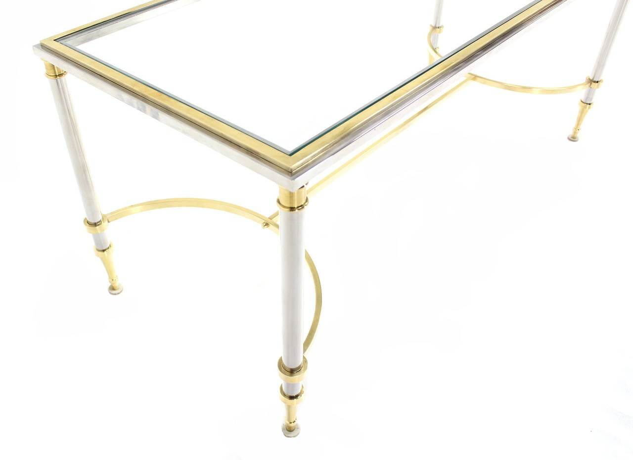 20th Century Chrome, Brass, and Glass-Top U-Shape Stretcher Coffee Table in Jansen Style For Sale