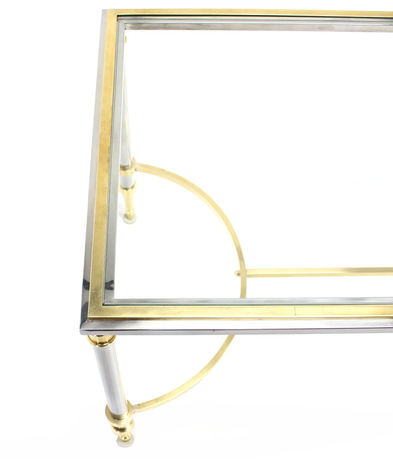 Chrome, Brass, and Glass-Top U-Shape Stretcher Coffee Table in Jansen Style For Sale 1