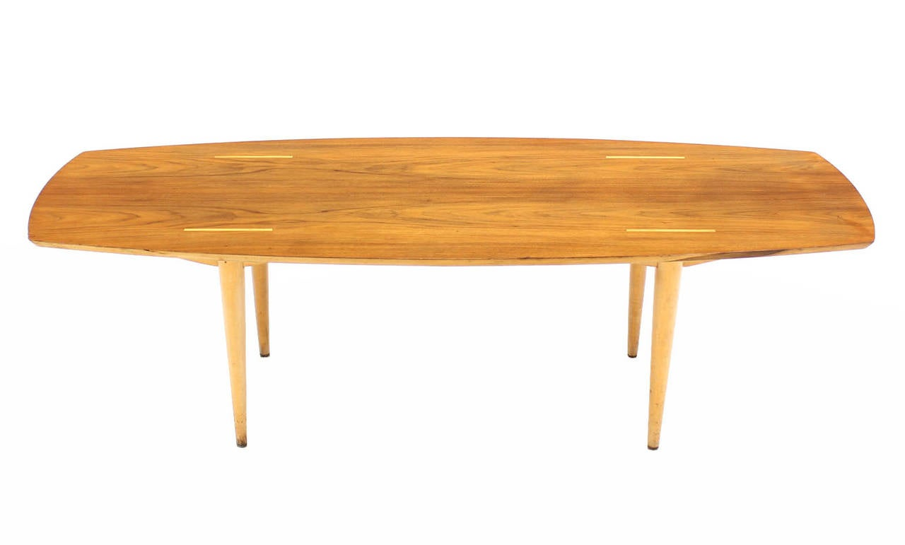 Boat Shape Walnut Top Mid Century Modern Coffee Table For Sale At 1stdibs