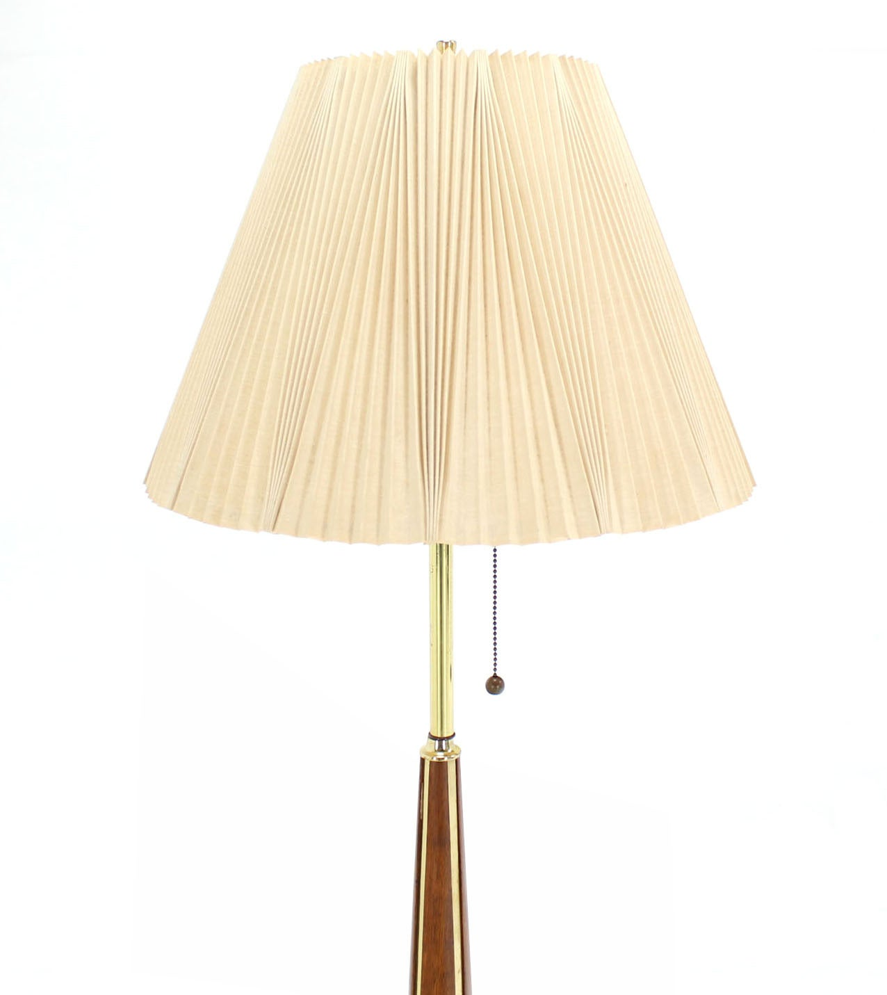 Brass Floor Lamp Mid Century: Walnut And Brass Mid-Century Modern Floor Lamp At 1stdibs