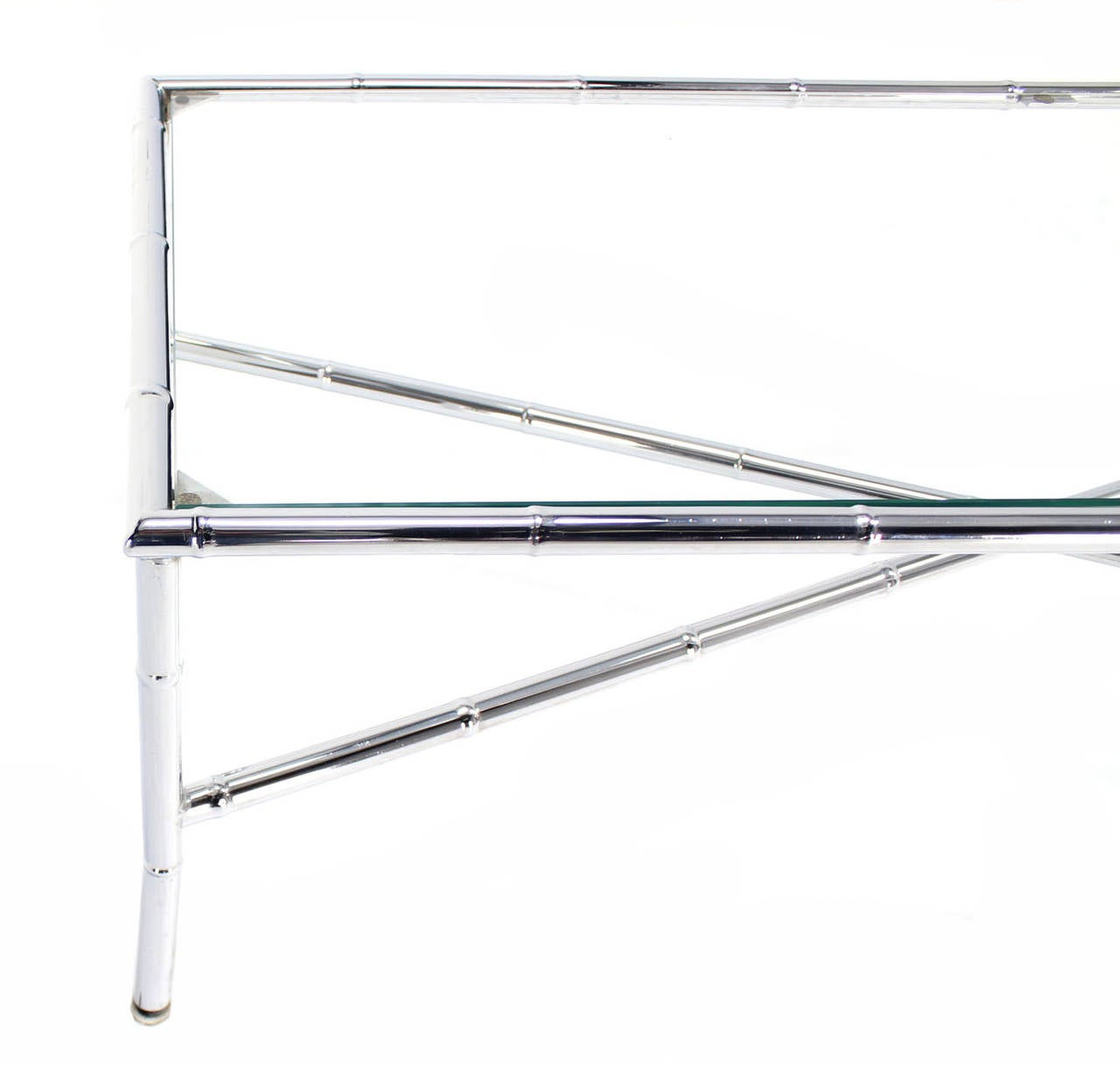 Long Bamboo Coffee Table: Faux Bamboo Chrome X-Base Long Rectangle Coffee Table For