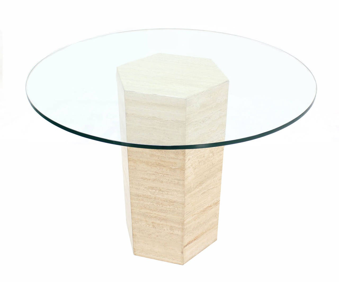 Hexagon travertine pedestal base and round glass top - Table base for round glass top ...