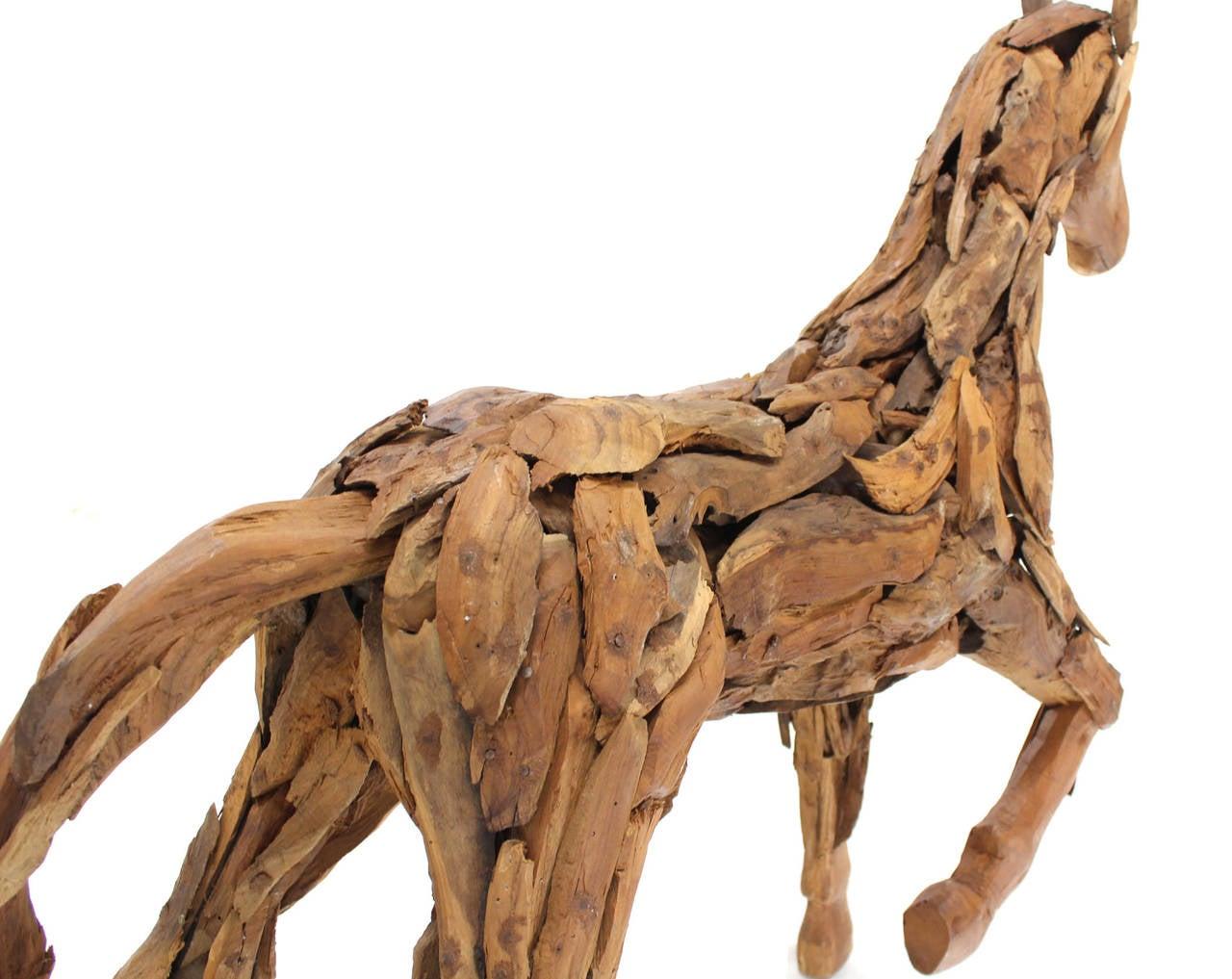 Reclaimed Wood Folk Art Horse Sculpture For Sale At 1stdibs