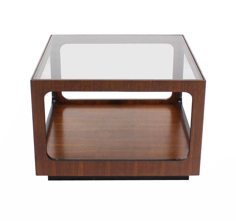 Square walnut base and glass top coffee or side table for for Coffee tables glass top