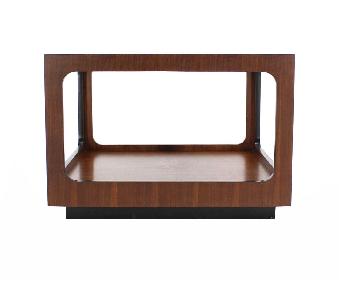 American Square Walnut Base and Glass-Top Coffee or Side Table For Sale