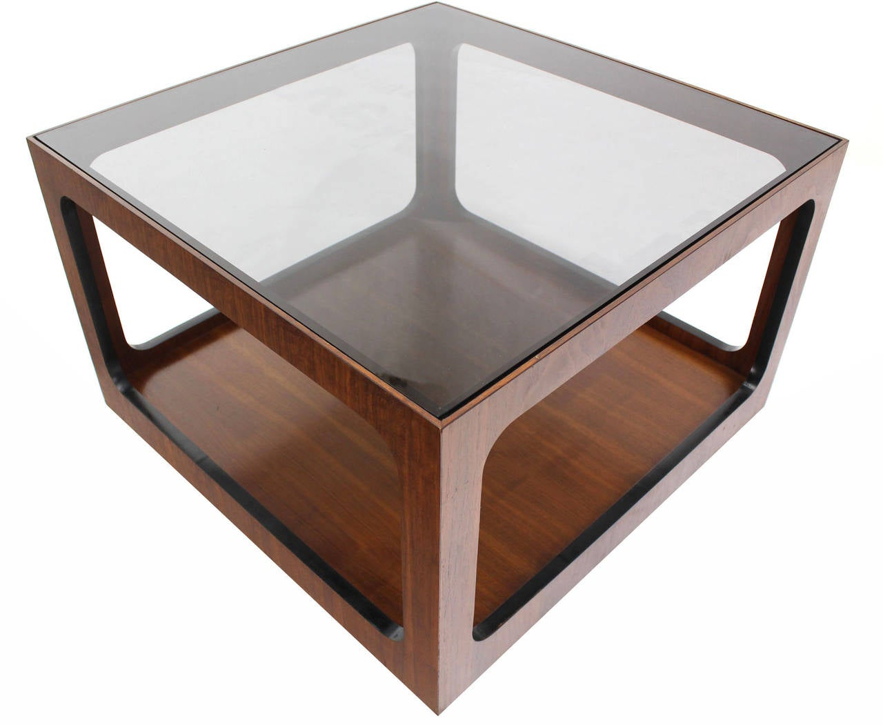 square walnut base and glass top coffee or side table for. Black Bedroom Furniture Sets. Home Design Ideas