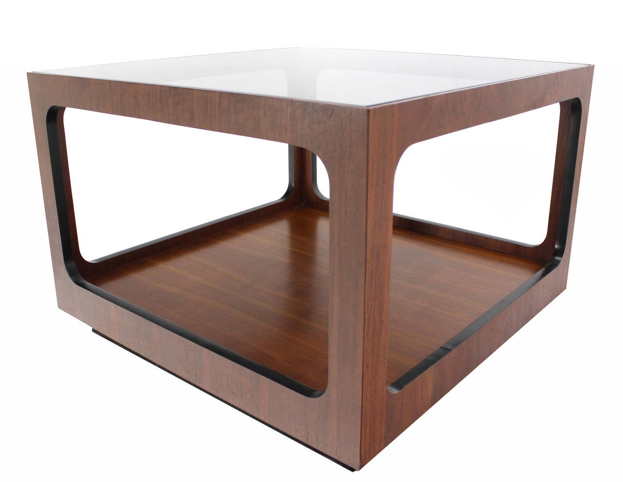 20th Century Square Walnut Base and Glass-Top Coffee or Side Table For Sale