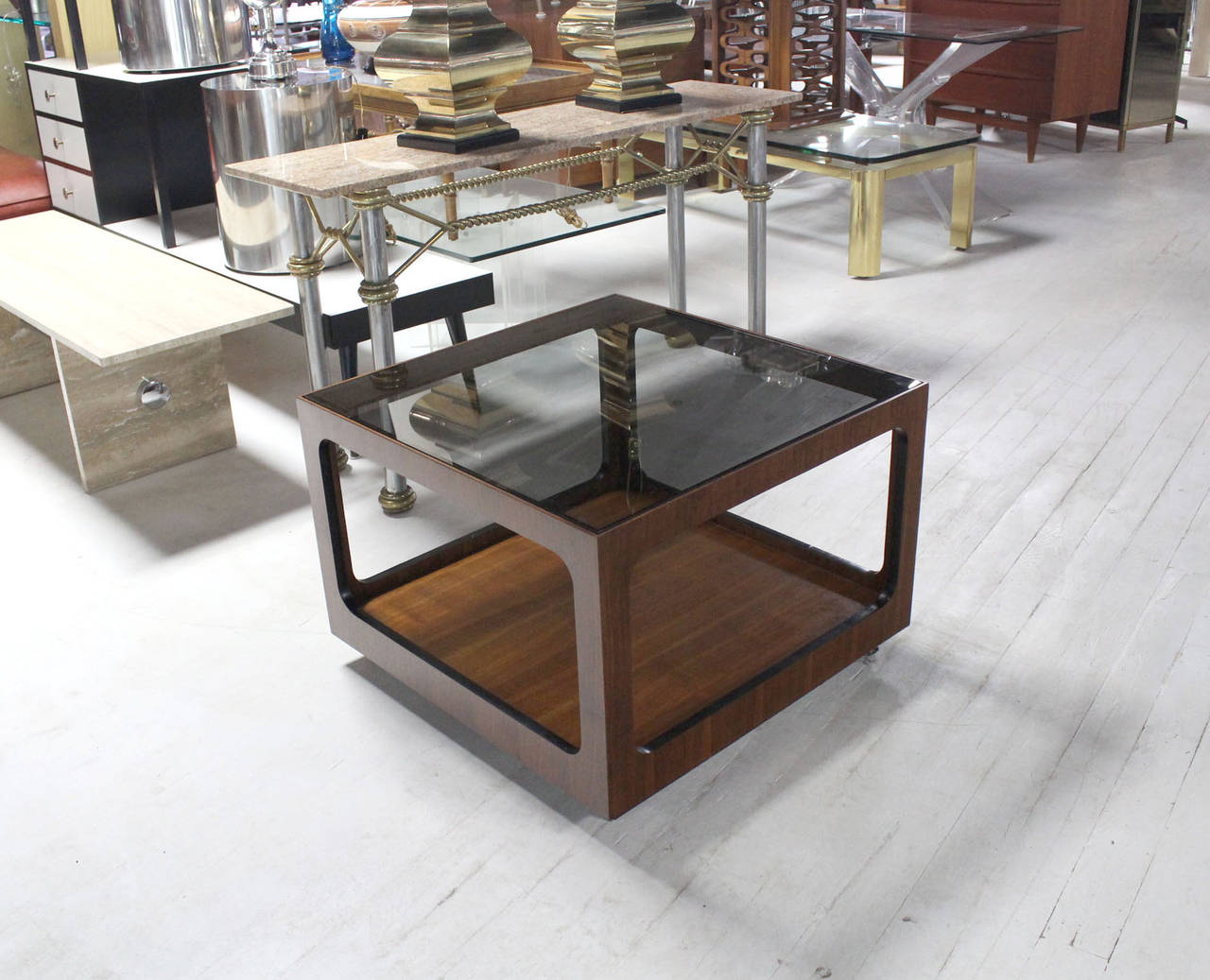 Danish mid-century modern square coffee or side table