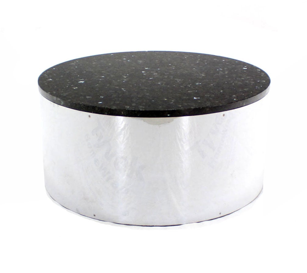 Round Chrome And Granite Top Coffee Table For Sale At 1stdibs