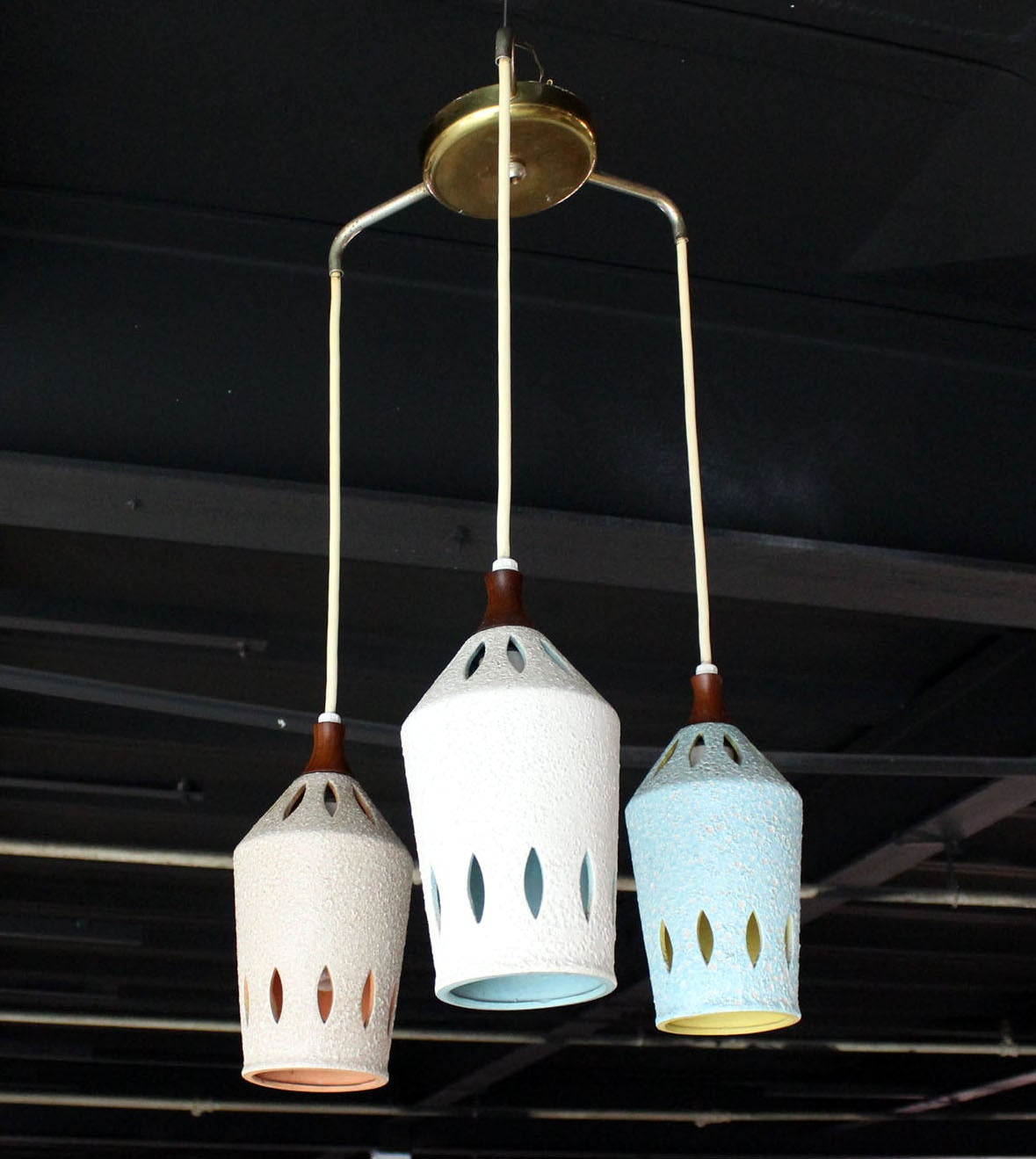 20th Century Triple Colored Pottery Ceramic Shades Pendant Light For Sale