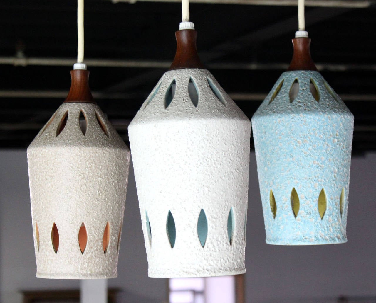 Mid-Century Modern Triple Colored Pottery Ceramic Shades Pendant Light For Sale