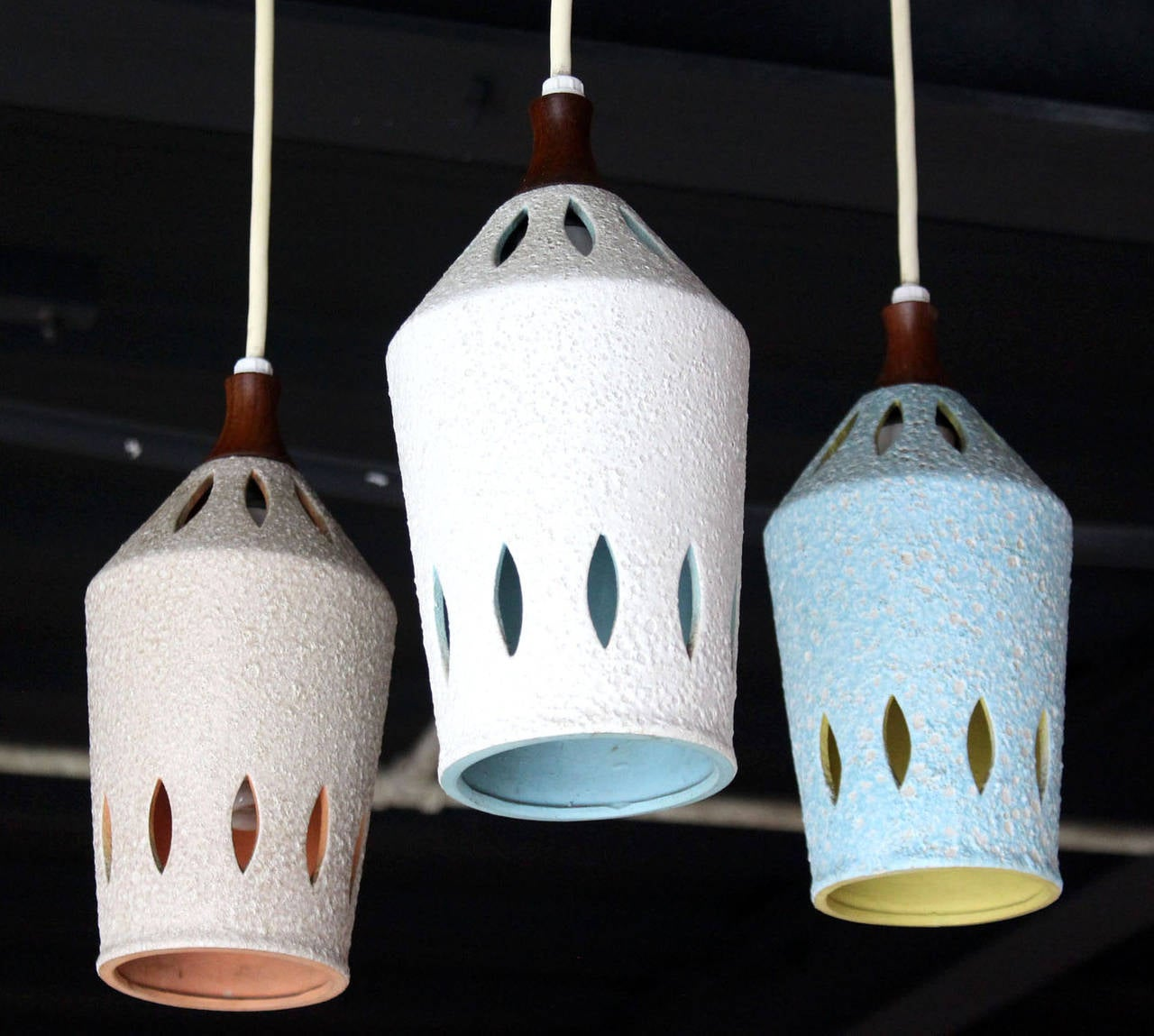 Polished Triple Colored Pottery Ceramic Shades Pendant Light For Sale