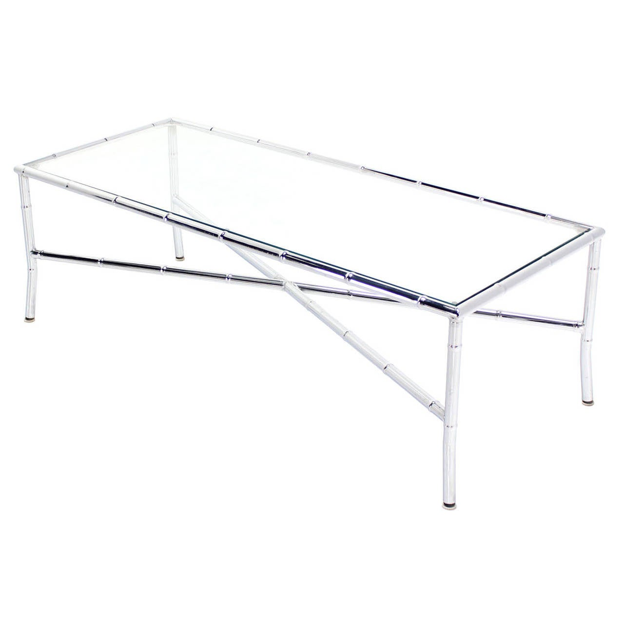 Faux Bamboo Chrome X Base Coffee Table At 1stdibs