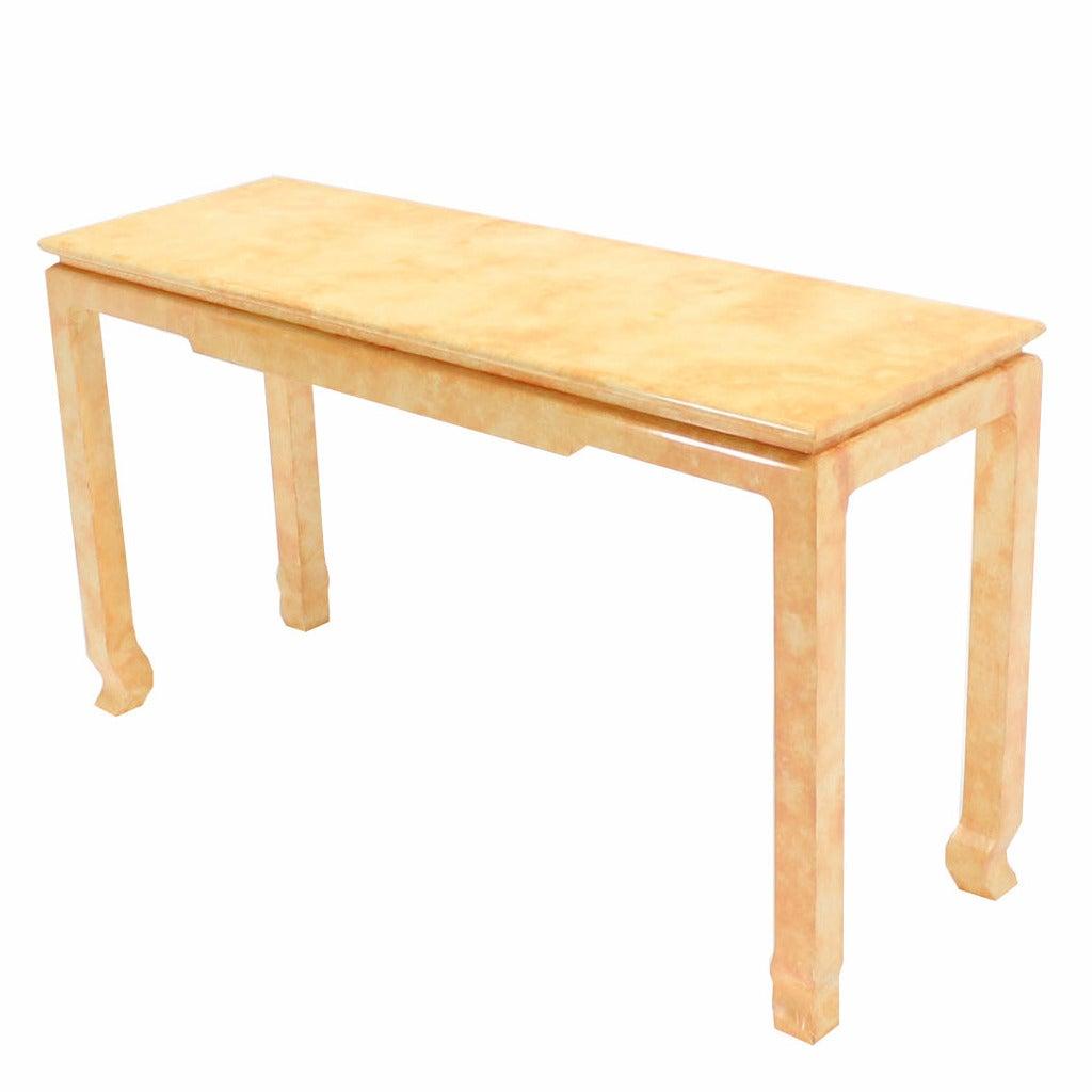Faux Parchment Finish Console Sofa Table