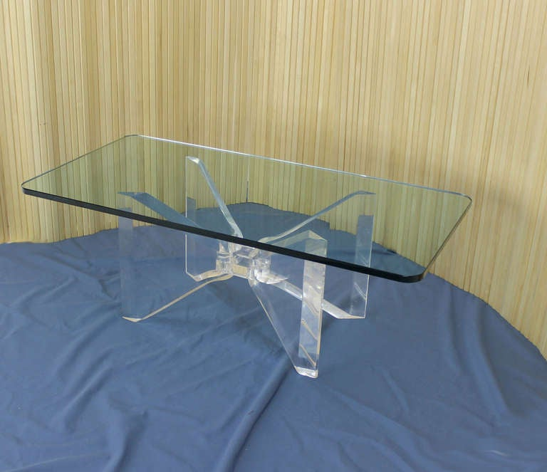 Mid Century Modern Lucite Base And Glass Top Butterfly Coffee Table 2