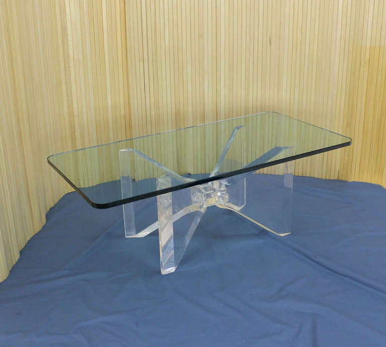 Mid Century Modern Lucite Base And Glass Top Butterfly
