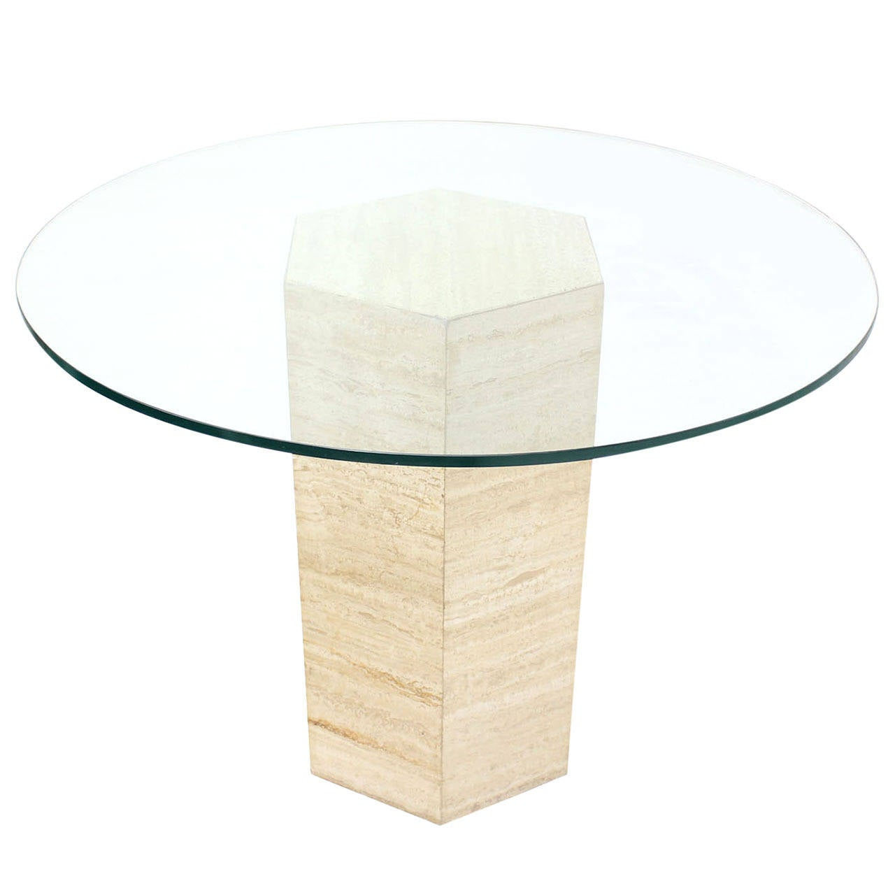 Hexagon travertine pedestal base and round glass top center table at 1stdibs - Ceramic pedestal table base ...
