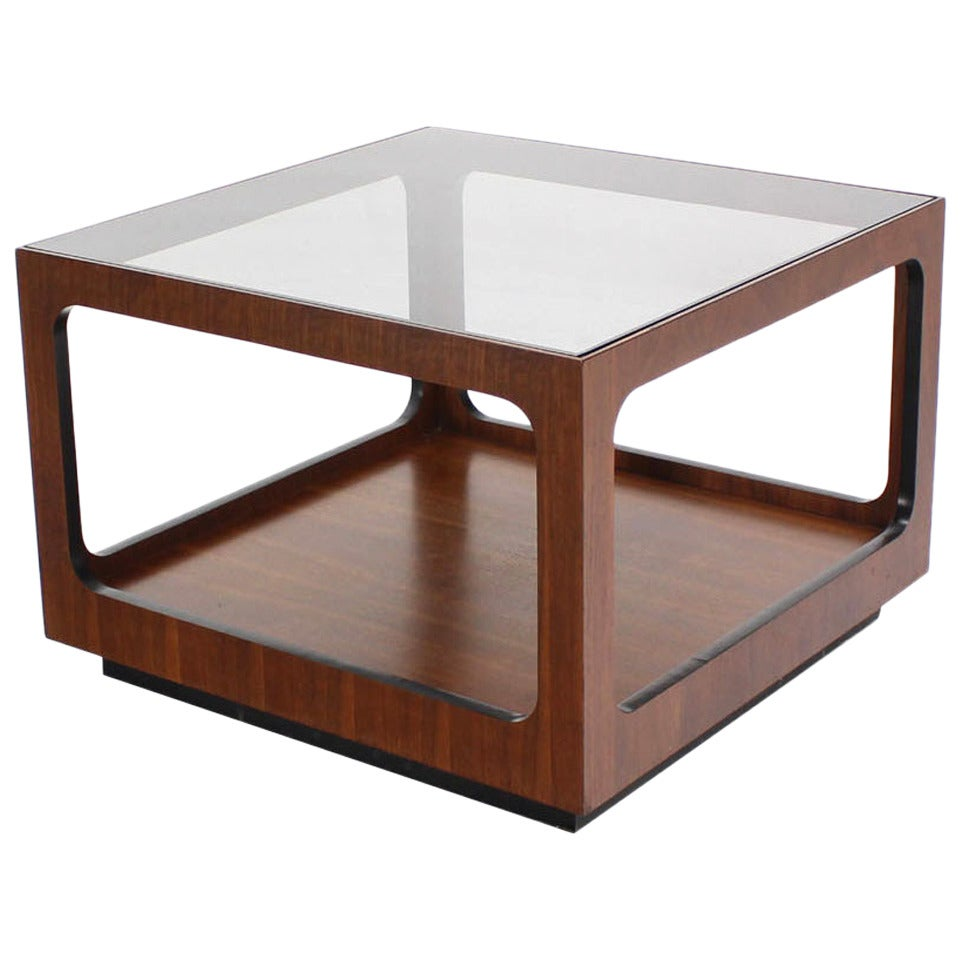 Square Walnut Base And Glass Top Coffee Or Side Table For Sale At