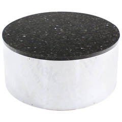Round Cylinder Shape Chrome and Granite Top Coffee Table