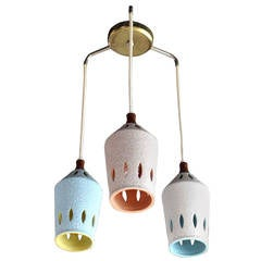 Triple Colored Pottery Ceramic Shades Pendant Light