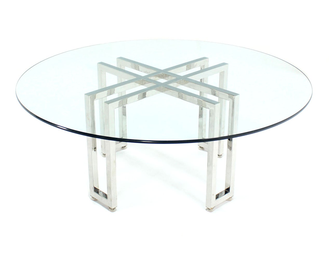 Double Parallel Xbase Round Coffee Table For Sale At 1stdibs