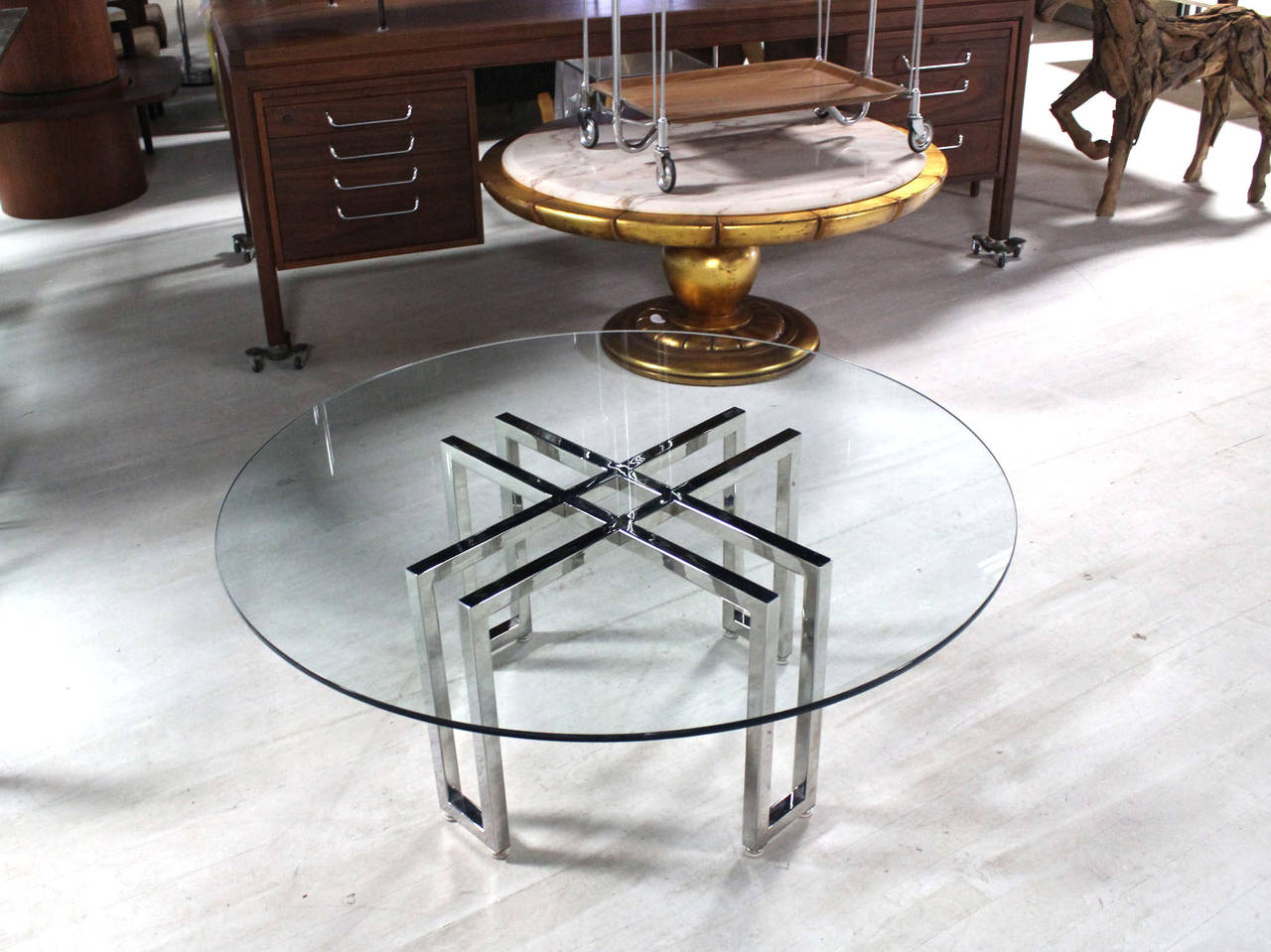 Double X Base Round Coffee Table For Sale At 1stdibs