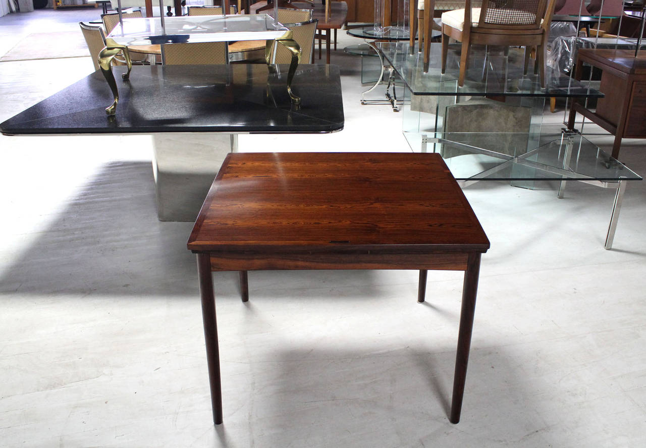 Danish Mid Century Modern Rosewood Flip Top Extendable Game Table 2