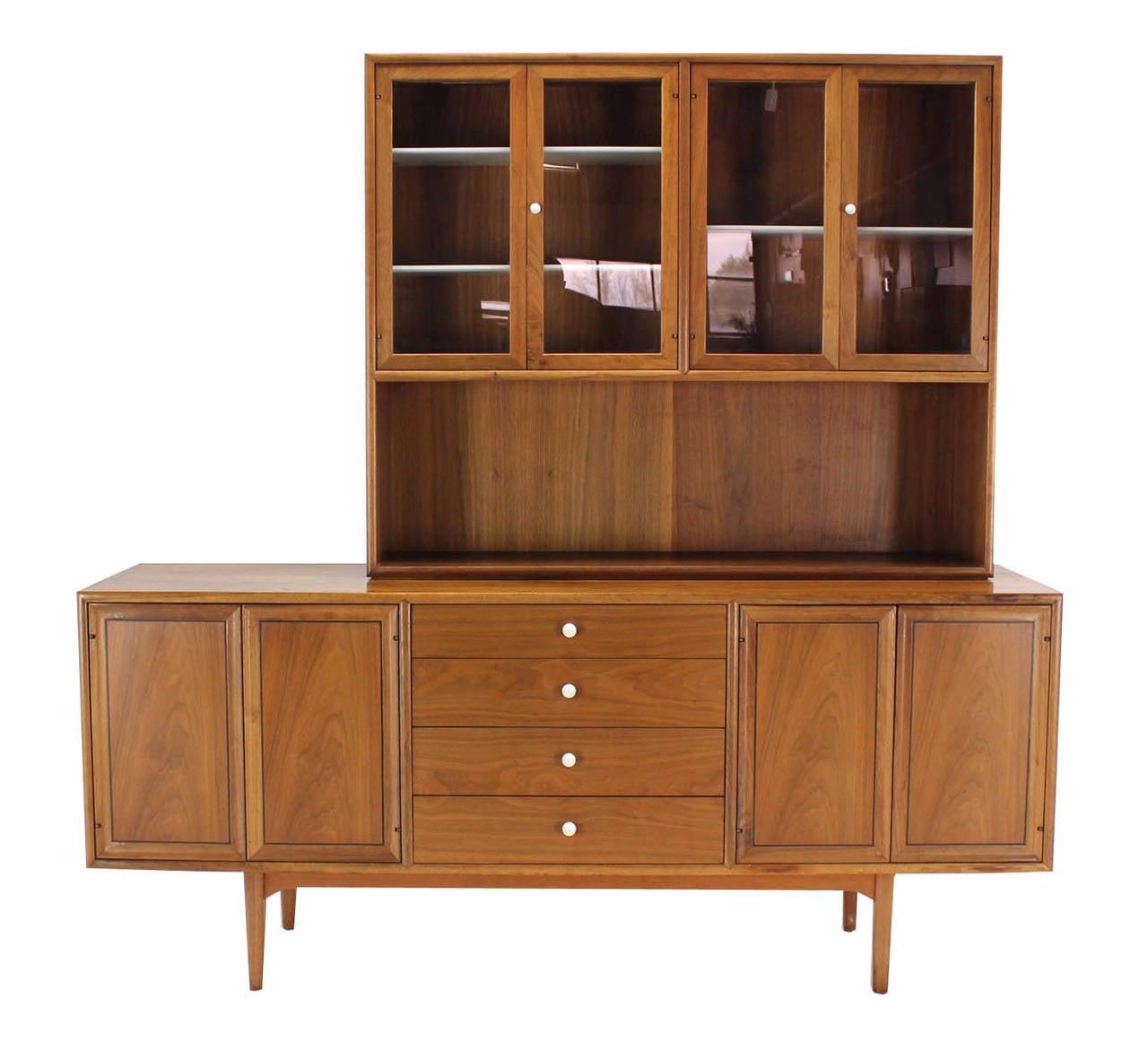Mid-Century Modern Drexel Declaration Two Part Cabinet For Sale