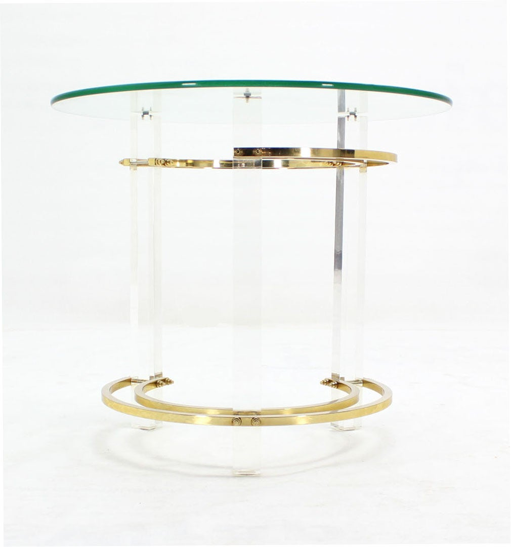 20th Century Charles Hollis Jones Round Lucite and Brass Side Table For Sale