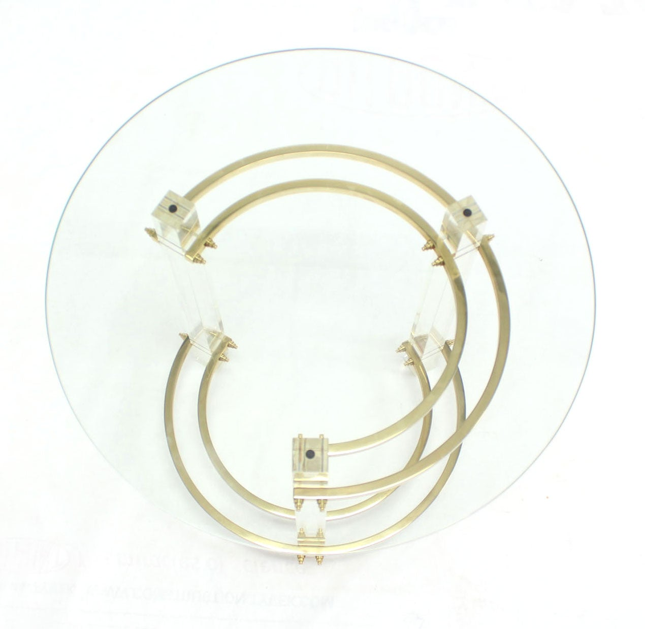 American Charles Hollis Jones Round Lucite and Brass Side Table For Sale
