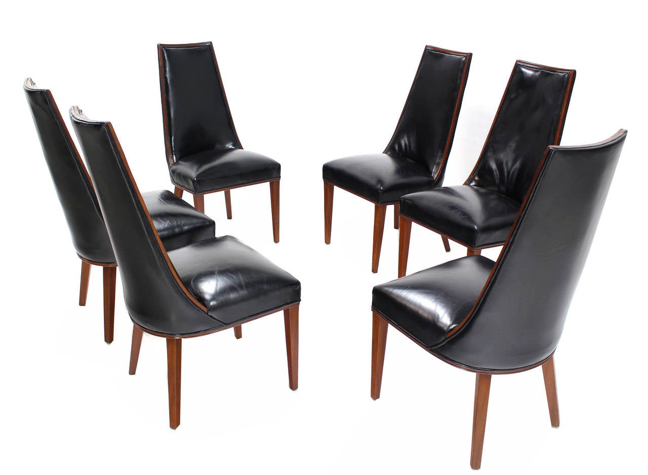 Set of Six Tall Back High Quality Leather Dining Chairs ...