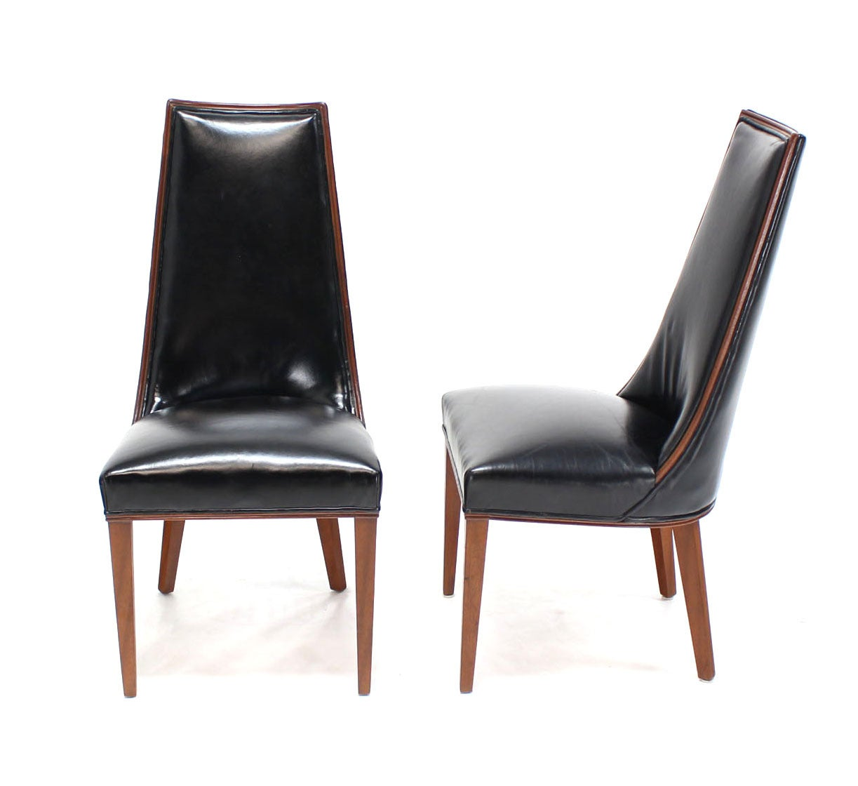 Set of six tall back high quality leather dining chairs for Leather back dining chairs