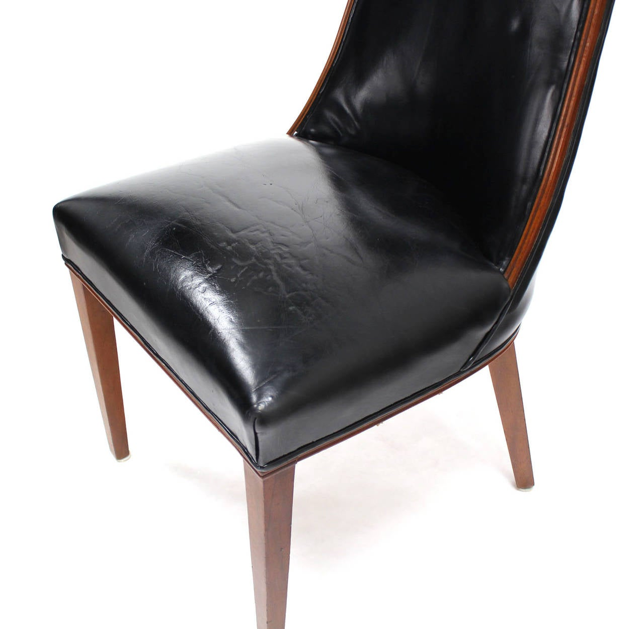 Set Of Six Tall Back High Quality Leather Dining Chairs