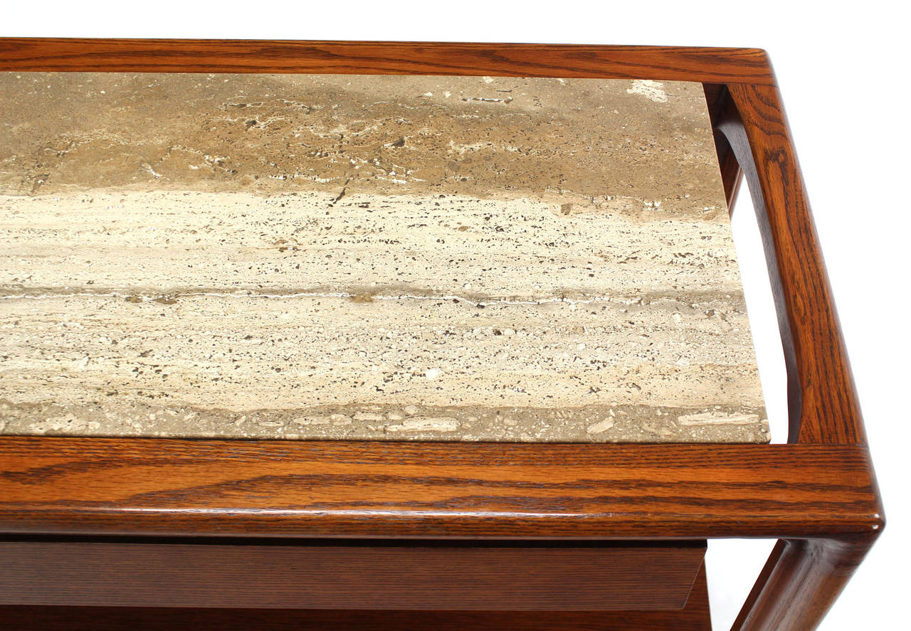 Travertine-Top Server with Shelves at 1stdibs