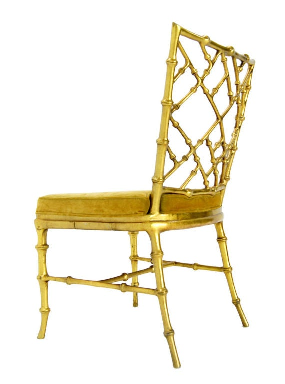 Faux Bamboo Gold Metal Frame Chair. image 2