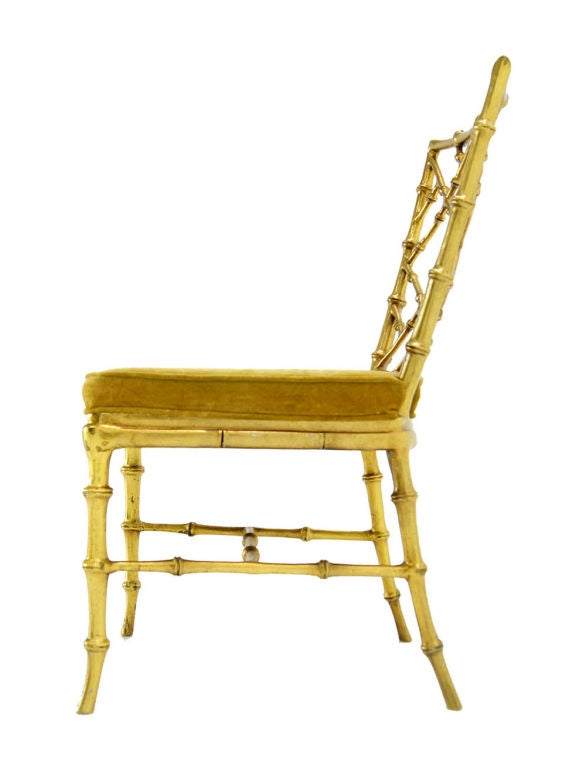 Faux Bamboo Gold Metal Frame Chair. 3