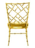 Faux Bamboo Gold Metal Frame Chair. image 4