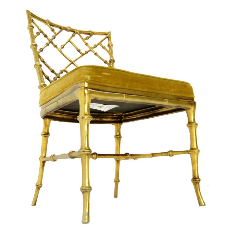 Faux Bamboo Gold Metal Frame Chair. 5