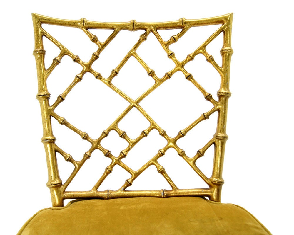 Faux Bamboo Gold Metal Frame Chair. 8