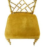 Faux Bamboo Gold Metal Frame Chair. thumbnail 9