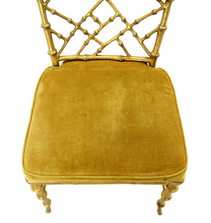 Faux Bamboo Gold Metal Frame Chair. 9