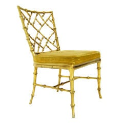 Faux Bamboo Gold Metal Frame Chair. thumbnail 1