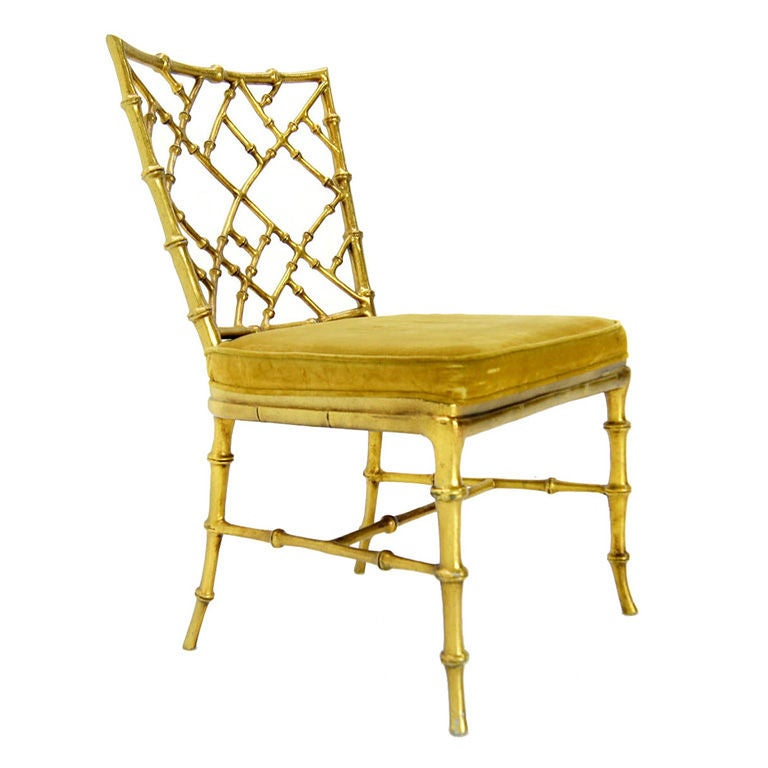 Faux Bamboo Gold Metal Frame Chair. at 1stdibs