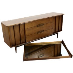 Danish Mid Century Modern Long Walnut Dresser w/ Mirror