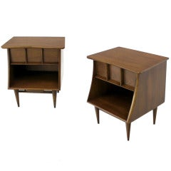 Pair of Danish Mid Century Modern Walnut End Tables Stands