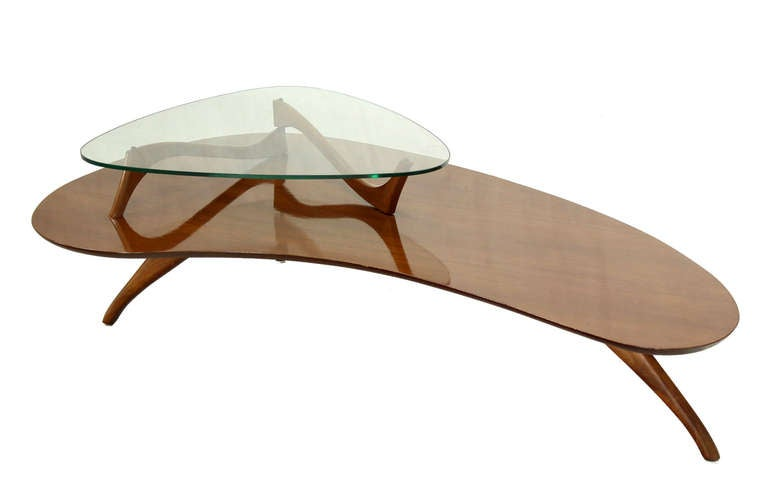 Mid Century Modern Kidney Organic Shape Walnut Coffee Table W Glass Top At 1stdibs