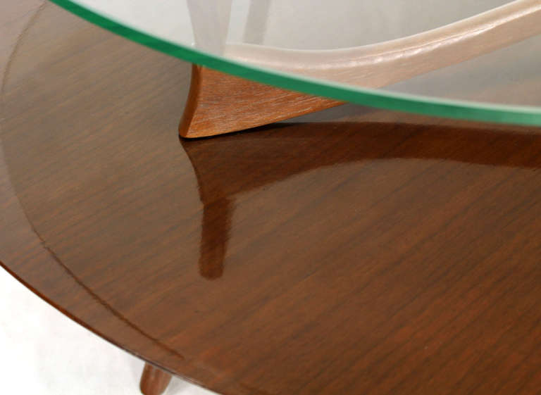 Walnut And Glass Round Two Tier Center Or Coffee Table