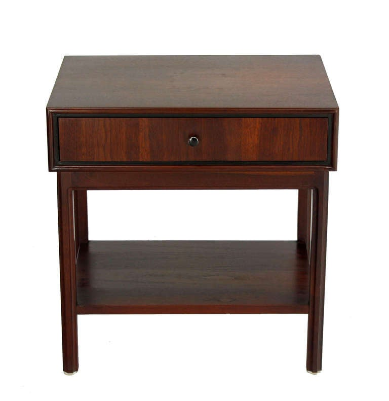 Mid Century Danish Modern Small Scale Drawer Coffee Table: Walnut Danish Mid-Century Modern, One-Drawer Side Or End