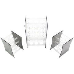 Set of Three Lucite Wine Racks or Stands